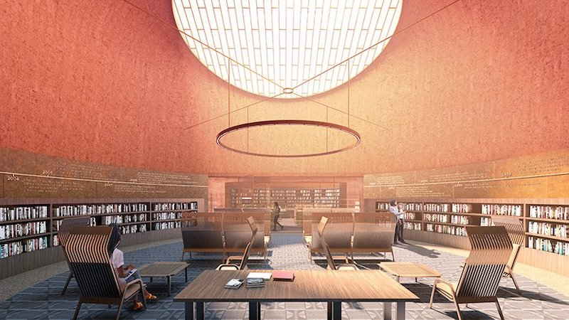 Thabo Mbeki Presidential Library reading room with people